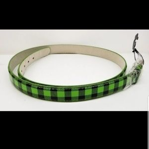 Accessories - Leather green Black Plaid Women's Dress Belt Med.